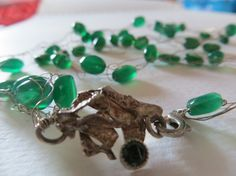 Green emerald Malachite silver necklace with by madebymirjam