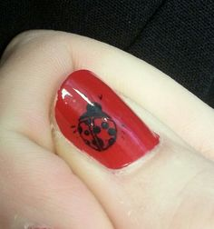 Angel's Nails ~ lady bug nail stamp