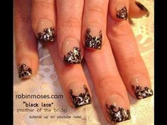 gothic black and silver lace: bridal nails gothic victorian steampunk robin moses nail art tutorial