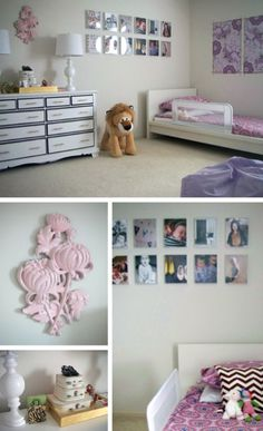 LOVE the blown up family photographs in simple wall frames
