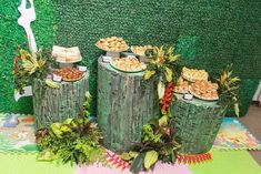 Tree stump sweets table from Prehistoric Dinosaur Birthday Party at Kara's Party…