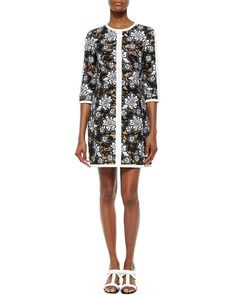 W05Q0 Michael Kors Collection Floral Lace Shift Dress
