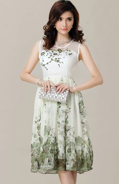 green floral embroidery dress