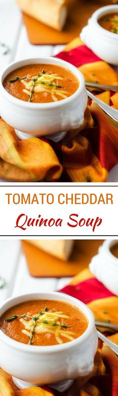 Tomato Cheddar Quinoa Soup (gluten free soup recipe, vegetarian recipe, vegan option)