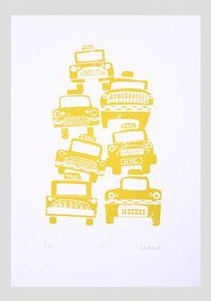 limited edition silkscreen - Cabs by Biro Robot