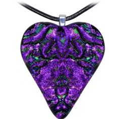 Holly Lynn Purple Passion Heart Dichroic Glass Necklace