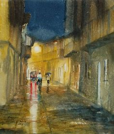 "Rainy Night-25,watercolor on paper, 13""X11"""