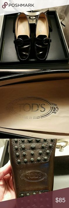 TOD'S shoes Beautiful brown burgundy color normal wear especially on the bottom but not noticeable once they are on...size 38 cute side buckle detail still have alot of wear to them.. Tod's Shoes Flats & Loafers