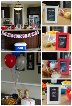 Decorations, cake and hot dog bar for a baseball party