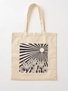 """The Sunset Flowers"" Cotton Tote Bag, print design by Asmo Turunen. #design #totebag #shoppingbag #kestokassi #kangaskassi #atcreativevisuals"