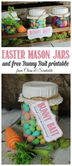 Easy Easter Mason Jar display with free printable. Also works as a cute gift idea! // cleanandscentsible.com