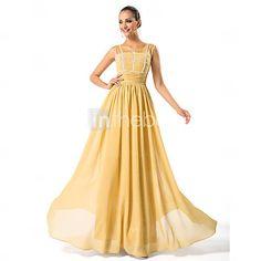 [DKK kr. 600]  kappe / kolonne scoop gulvlange chiffon mor til bruden kjole