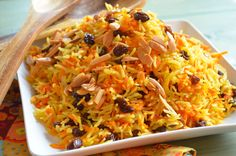 Sweet Basmati Rice with Carrots & Raisins - This Sweet and fragrant basmati rice with carrots and raisins is the perfect vegetarian side dish for any holiday meal. In our house, this is a Rosh Hashanah Favorite. Vegan and Gluten Free. Vegetarian Side Dishes, Vegetarian Recipes, Rice Dishes, Food Dishes, Kosher Recipes, Cooking Recipes, Chef Recipes, Basmati Rice Recipes, Jewish Recipes