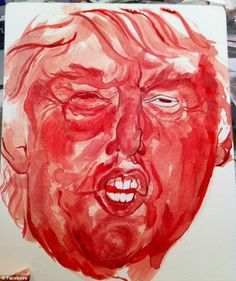 Eyebrow-raising artwork: Portland-based artist Sarah Levy painted this portrait of Donald Trump in her menstrual blood