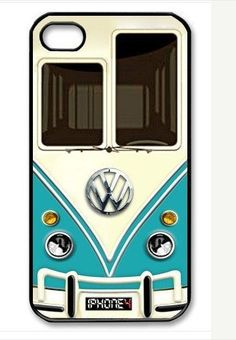 Cute kawaii blue mini bus volkswagen chrome logo Apple On iPhone 4 Case, iPhone 4s Case, iPhone 4 Hard Case, iPhone Case-graphic Iphone case. $8.99, via Etsy.