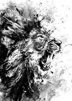 Lion Original Acrylic Painting Black and White by BlackraptorArt