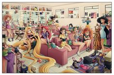 All the Disney princesses getting ready... Belle's reading 50 shades ;)