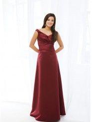 Satin V-neck Neckline Wrapped Bodice A-line Bridesmaids Dress