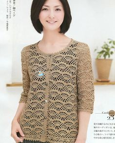 Crochet Wonders: Cardigan Crochet Manga Longa_Japonês