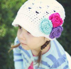 Crochet Newsboy Girls Hat, White and Hot Pink, Aqua, Purple Flower Beanie