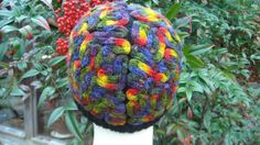 Brain Hat Rainbow fun funky colorful cap costume by frugalfibers@yahoo.com  also on Etsy.com