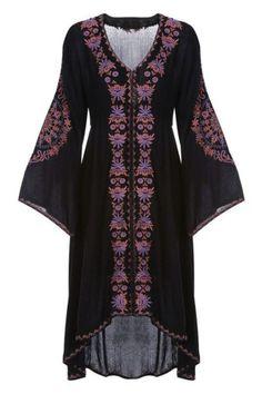 Черное платье бохо
