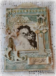 with bits of lace & embellishments.Mette`s Kortverden. I have several similar dies to recreate something like this. So pretty. Stamped Christmas Cards, Christmas Paper Crafts, Christmas Cards To Make, Vintage Christmas Cards, Christmas Love, Xmas Cards, Vintage Cards, Handmade Christmas, Holiday Cards