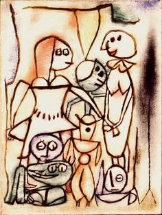 Paul Klee 'Group of Masks' 1939 Gouache on paper mounted on burlap 95 x 70 cm