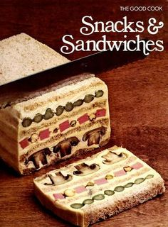 Ha I have this book! (From thrift shop!) Snacks & Sandwiches (The Good Cook Techniques & Recipes Series) by Time-Life Books Editors Retro Recipes, Old Recipes, Vintage Recipes, Cookbook Recipes, Dinner Recipes, Scary Food, Gross Food, Weird Food, Fun Food