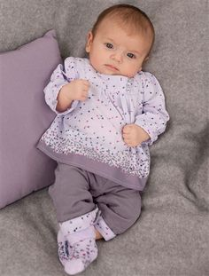 Baby Girl Blouse & trousers outfit GREY MEDIUM SOLID