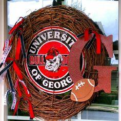 """18"""" UGA Georgia Bulldogs Personalized Football Wreath. $38.00, via Etsy."""