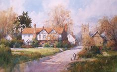 """""""Rural Central England"""" artist Ian Ramsay Watercolor painting 16"""" x 26"""""""