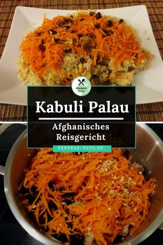 Kabuli Palau - Afghan rice dish: Qabili Palau is a rice with raisins, carrots and lamb as it is popu Afghan Food Recipes, Ramadan Recipes, Rice Dishes, Fodmap, Ayurveda, Japchae, Curry, Brunch, Food And Drink