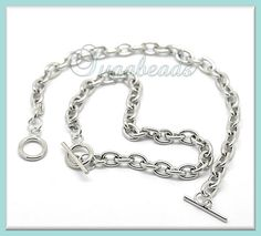 2 Silver over Copper Link Charm Bracelet Chains 85 in by sugabeads,