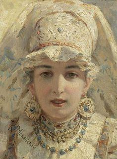 Russian beauty, Konstantin Makovsky painting 8