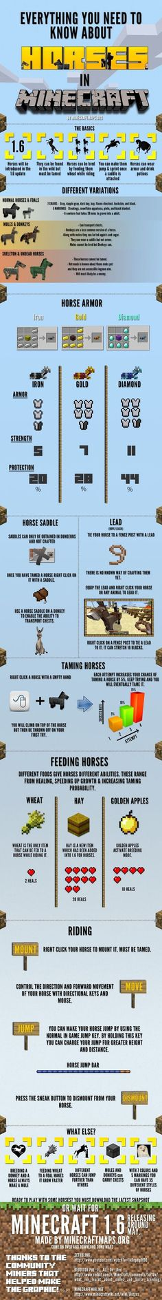 Everything you need to know about horses in Minecraft now in you can tame the skeleton and zombie horses, I have one of each but you can only put a saddle on, no armor. And you can't put a lead on them either which sucks but they are still really cool! Minecraft Horse, Minecraft Blueprints, Minecraft Creations, How To Play Minecraft, Minecraft Memes, Minecraft Projects, Minecraft Crafts, Minecraft Designs, Minecraft Party