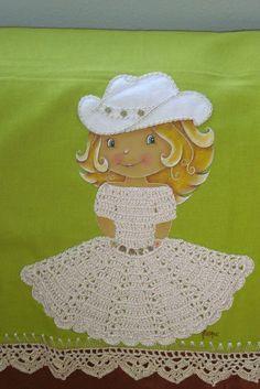 Pintura em tecido e crochê - Boneca country I | Flickr – Compartilhamento de fotos!
