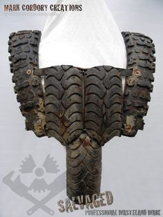 Post Apocalyptic tyre armour (rear view) - Mad Max Airsoft LARP. Made by Mark Cordory Creations. Commission enquiries always welcome @ www.markcordory.com