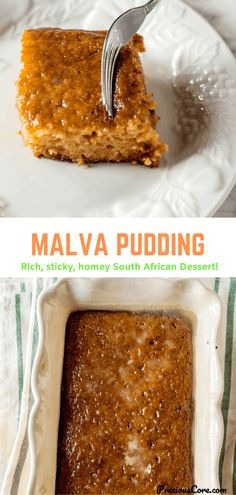 Malva Pudding is a decadent South African dessert. It is moist, sticky, sweet, milky, butter and the perfect treat for when you want to indulge. Kinds Of Desserts, Easy Desserts, Delicious Desserts, South African Desserts, Malva Pudding, Best Dessert Recipes, Sweets Recipes, How Sweet Eats, Perfect Food