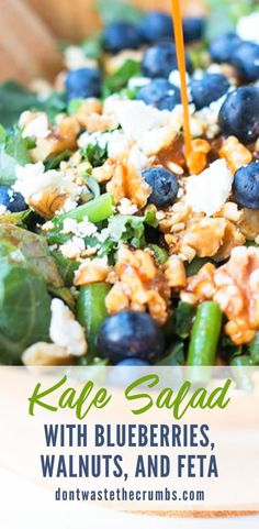 This Kale Salad Recipe turns kale into a meal-sized salad with massaged raw kale, blueberries, walnuts, feta, Healthy Side Dishes, Healthy Foods To Eat, Healthy Dinner Recipes, Real Food Recipes, Healthy Snacks, Lunch Recipes, Healthy Eats, Kale Salad Recipes, Salad Dressing Recipes