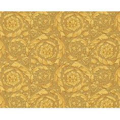Versace Home Barocco Flowers Wallpaper (65.935 CRC) ❤ liked on Polyvore featuring backgrounds, wallpaper and gold