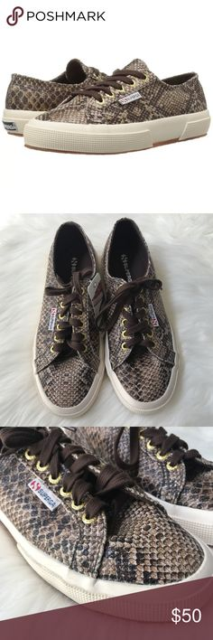 [Superga] 2750 Snakeskin Sneakers BNWT, excellent condition.  Canvas upper with allover print for added appeal. Lace-up closure for an adjustable fit. Canvas lining for breathability. Cushioned footbed provides sustained comfort for all-day wear. Natural rubber outsole offers traction and durability. Smoke free home, no modeling no trades Superga Shoes Sneakers