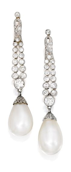 Early 20th Century Natural Pearl and Diamond Earrings