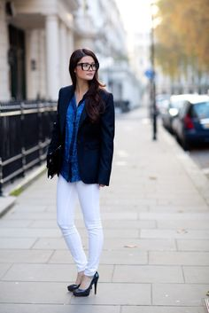blazer and white jeans
