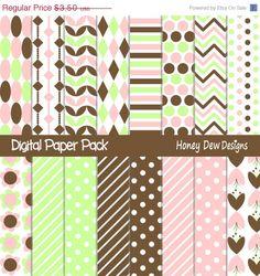 50% OFF SALE Instant Download - Digital Paper Pack 288 - Pink and Green Digital Paper