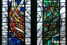 Focus of the theme St Mary and the Tree of Life to left and right lancets in the hand painted stained glass window design by artist Derek Hunt FMGP, Limelight Studios