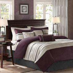 Introduce a sense of luxurious style with the Madison Park Palmer 6 Piece Faux Suede Duvet Cover Set. The faux suede duvet cover features a pieced design, in soft hues, that creates a stunning and elegant allure. Plum Comforter, Full Comforter Sets, Duvet Cover Sets, Purple Bedding Sets, Purple Bedrooms, Lavender Bedding, Cotton Bedding, Pillow Covers, Bed Sets