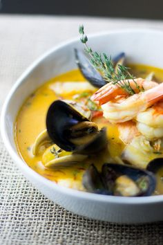 Bouillabaisse with clams, mussels, shrimp and fish Seafood Bouillabaisse, Seafood Stew, Seafood Dishes, Bouillabaisse Soup Recipe, Fish Recipes, Seafood Recipes, Soup Recipes, Cooking Recipes, Boulliabaise Recipe