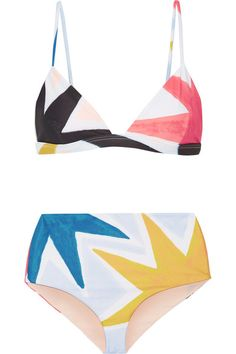 Multicolored stretch-polyester Clasp fastening at back 78% recycled polyester, 22% spandex Hand wash Lotion, sunscreen, oil and chlorine can cause discoloration of this item; this is not a manufacturing defect. Please follow care instructions to keep your swimwear in the best condition