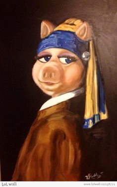 Miss Piggy with a Pearl Earring By: Shimi Volkovich